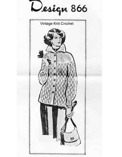 Ribbed Jacket Knitting Pattern, Mail Order Design 866