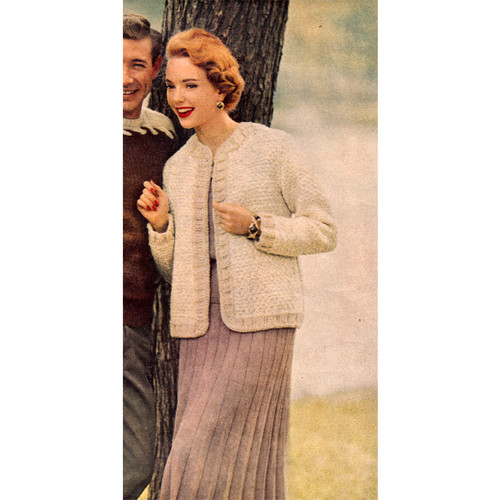 Knitted Loose Fitting Cardigan Pattern, Vintage 1950s