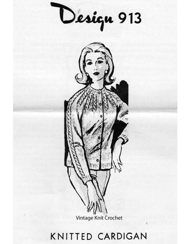 Knitted Raglan Cable Cardigan Pattern, Mail Order Design 913