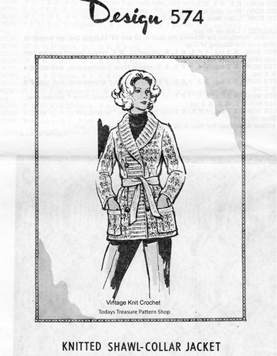 Knitted Jacket Pattern, Ribbed Shawl Collar, Mail Order 574