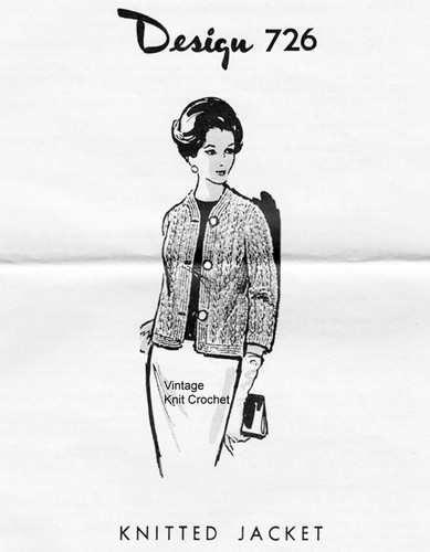 Womans Knitted Jacket Pattern, Mail Order 726