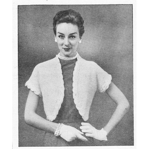 Vintage Bolero Knitting pattern with cable trim