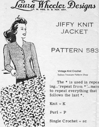 Knitted Jacket Pattern, Cable Stitch, Mail Order 583