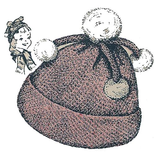 Childs Fun Pompom Hat Crochet Pattern