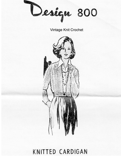 Cardigan Knitting Pattern, Waist Band, Mail Order Design 800