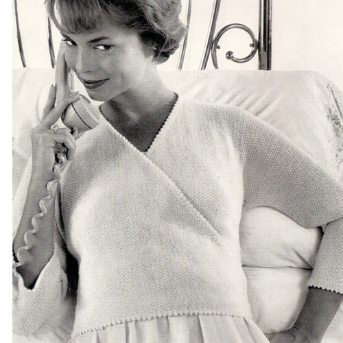 Vintage Wrap Blouse Knitting Pattern with V-Neck