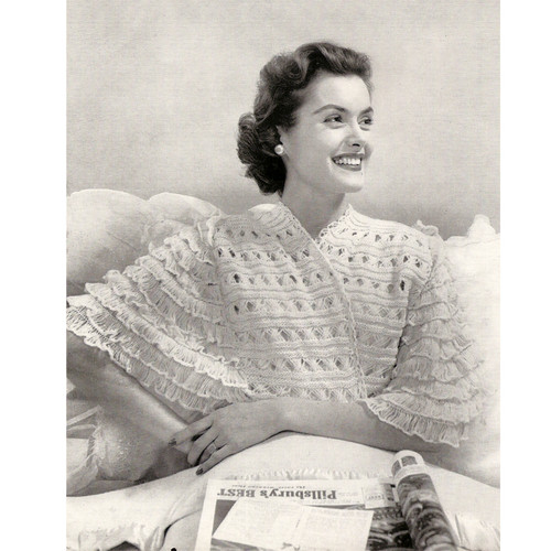 Delicate Lace Knitted Bed Jacket Pattern