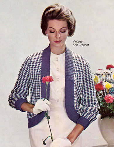 Long Knitted Shrug Pattern, Checked Stitch