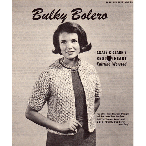 Easy Bulky Bolero Knitting Pattern, CCL Leaflet W-819
