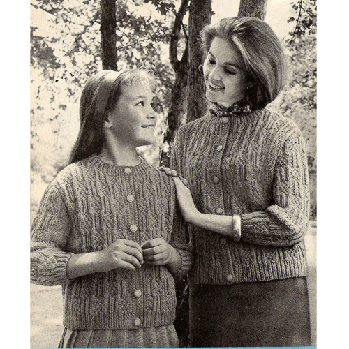 Vintage Knitted Mother Daughter Matching Cardigan Patterns