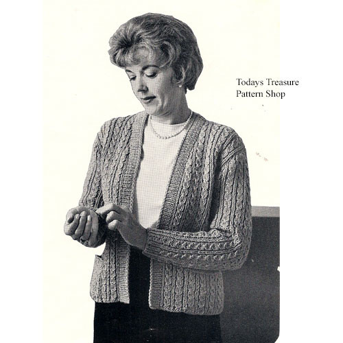 Vintage Plus Size Cardigan Knitting Pattern