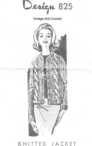 Knitted Cable Jacket Pattern, Mail Order Design 825
