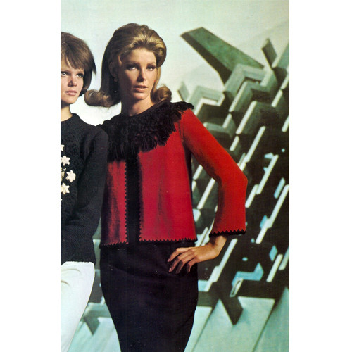 Knitted Jacket Pattern with Fringed Collar