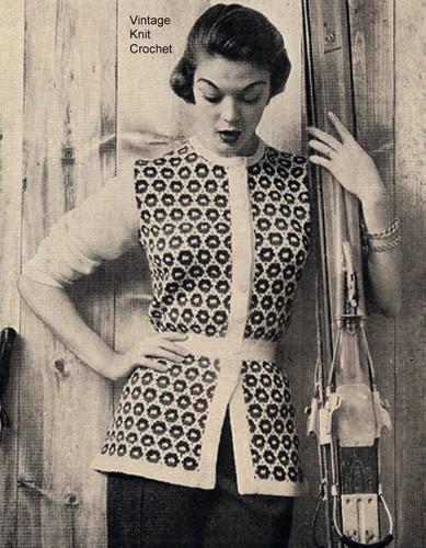 Vintage Ski Jacket Knitting Pattern, three quarter sleeves