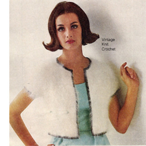 Knitted Cropped Jacket Pattern in Mohair Yarn