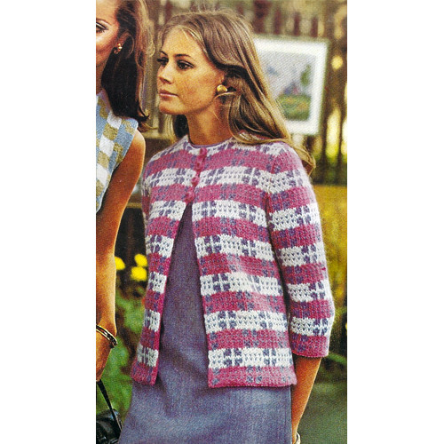 Vintage Plaid Jacket Knitting Pattern, Tri Color