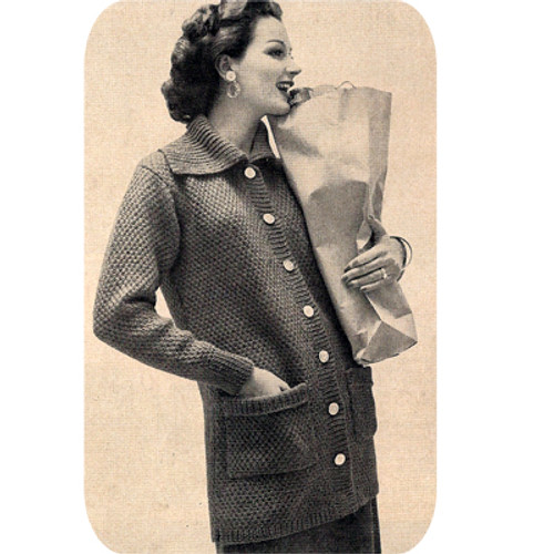 Long Knitted Coat Pattern, Patch Pockets