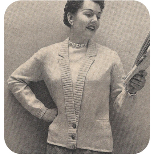 Knitted Pattern French Cardigan with Button Band Waist
