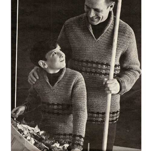 Mens Boys Crochet Pullovers Pattern