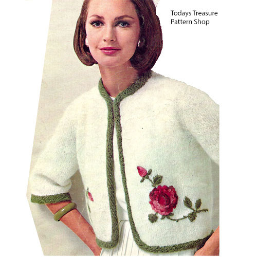 Short Knit Jacket Pattern with Rose Embroidery