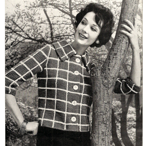 Knitting Pattern Plaid Short Jacket