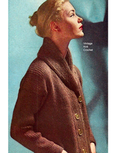 Knitted Jacket Pattern, Shawl Collar, Thigh Length