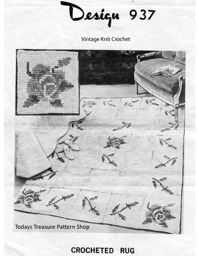 Large Rose Embroidered Rug Crochet Pattern Design 937