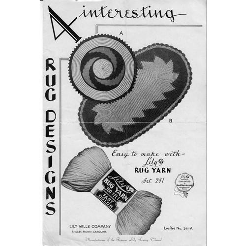 Crochet Rug Pattern Leaflet, Lily Mills 241-A