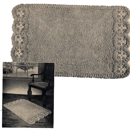 Vintage Flower Bordered Rug Crochet Pattern