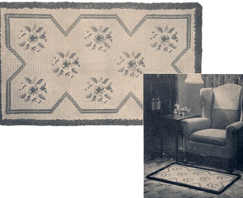 Crochet Rug pattern with wild rose embroidery
