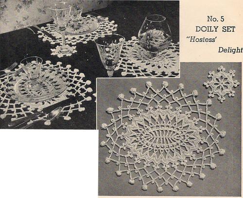 Crochet Doily Mats Pattern, Vintage 1950s
