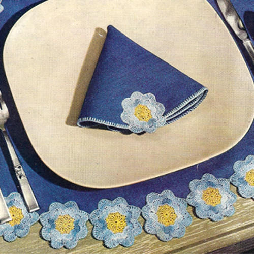 Free Flower Crochet Edging pattern, Vintage 1960s