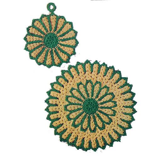 Crochet Traditional Potholders Mats Pattern in Flower Motif