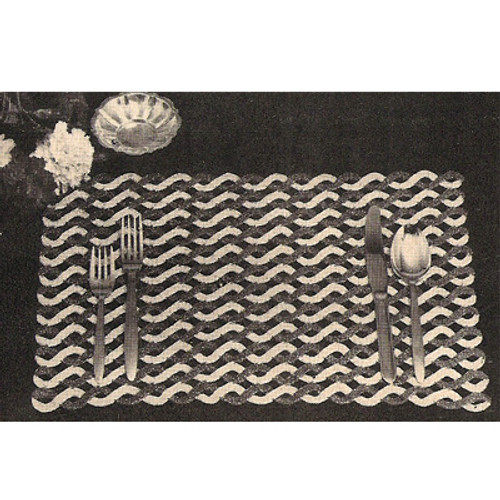 Cable Crocheted Place Mats Pattern, Vintage 1950s