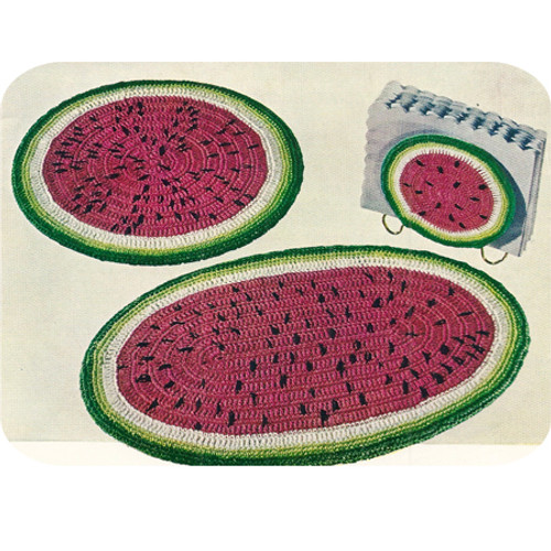 Watermelon Crochet Place Mats Pattern