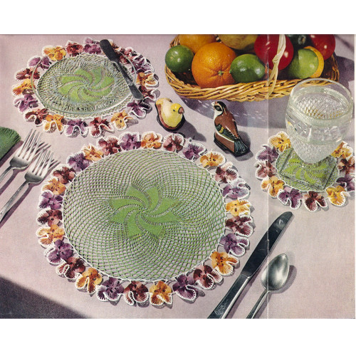 Pansy Bordered Crochet Mats Pattern