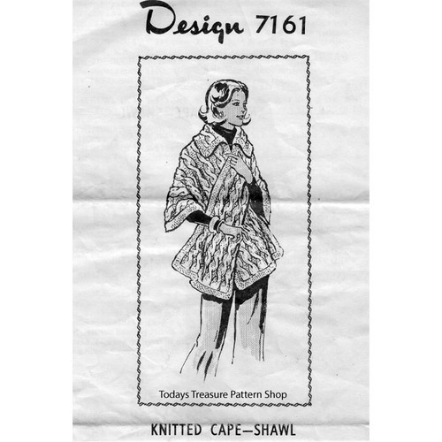 Mail Order Design 7161, Knitted Shawl Cape Pattern