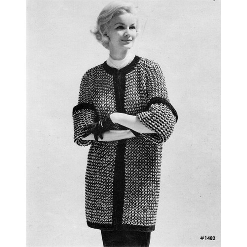 Knitted Tweed Coat with Open Front Pattern