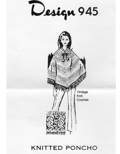Knitted Cable Poncho Pattern, Mail Order 945