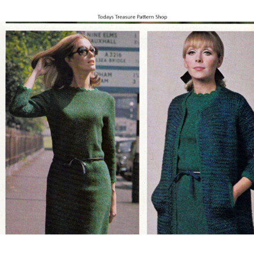 Knitting Pattern for Straight Dress and Coat Pattern