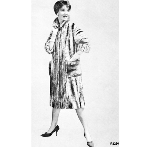 Knee Length Knitted Mohair Coat Pattern