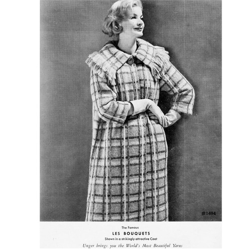 Vintage Fringed Plaid Coat Knitting Pattern
