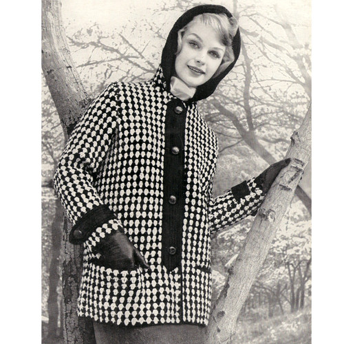 Checked Coat Knitting pattern, with Hood