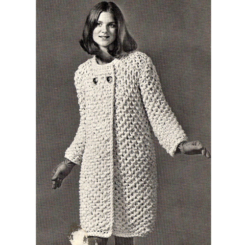 Knitting Pattern Honeycomb Coat, Knee Length