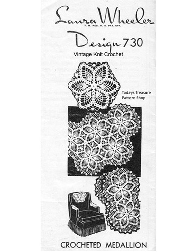 Crochet Star Medallion Pattern, Cloth Chair Doily, Mail Order 730