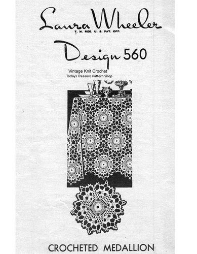 Crochet Round Tablecloth Medallion Pattern, Mail Order 560