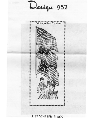 Crocheted Flag Pattern, Three American Styles, Mail Order 952