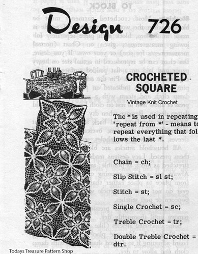 Pineapple Crocheted Square Pattern, Mail Order 726