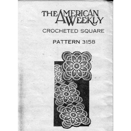 American Weekly 3158, Crochet Pineapple Square Pattern