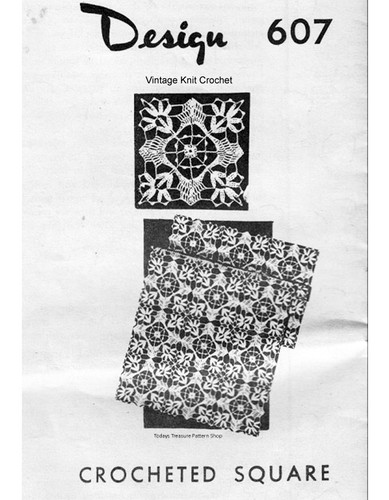 Crochet Tablecloth Square Pattern, Mail Order 607